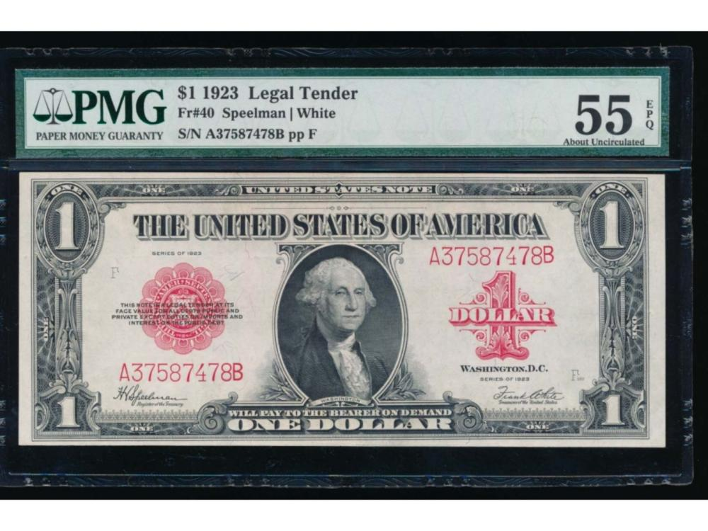 1923 $1 Legal Tender Note PMG 55EPQ
