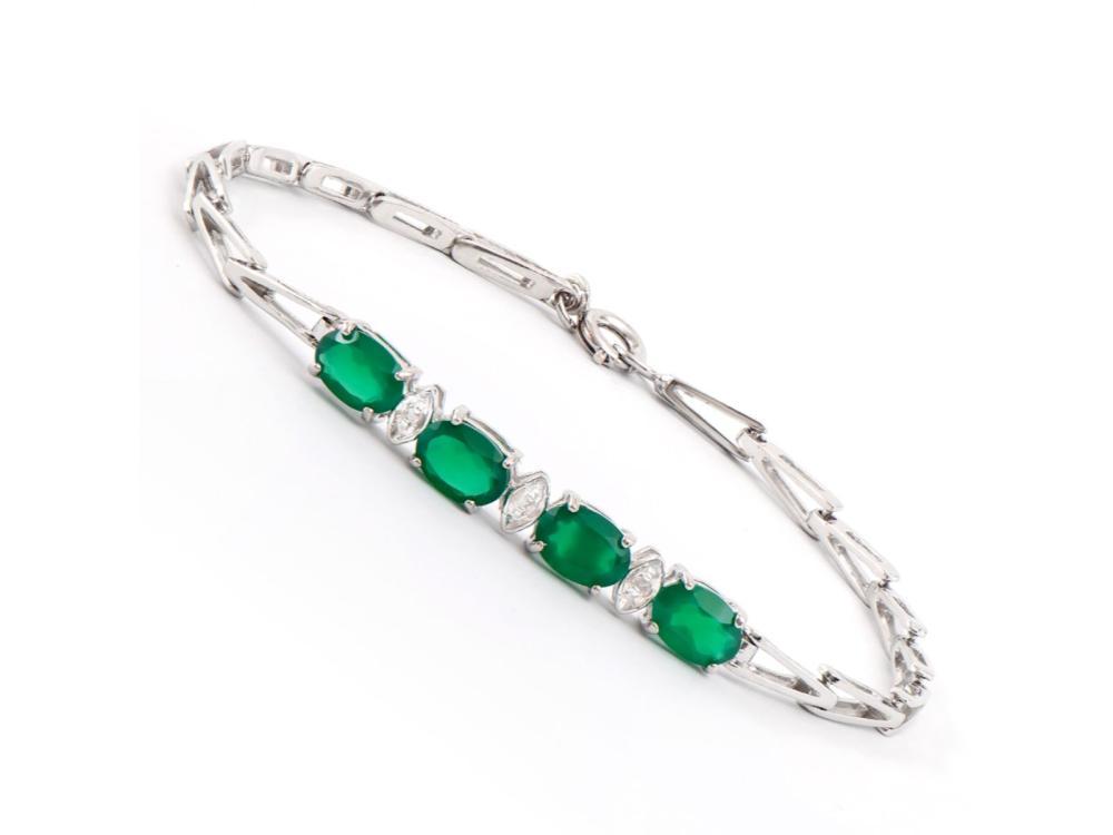 Plated Rhodium 2.55ctw Green Agate and Diamond Bracelet