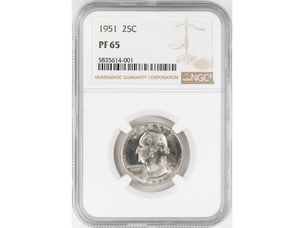 1951 Proof Washington Quarter Coin NGC PF65