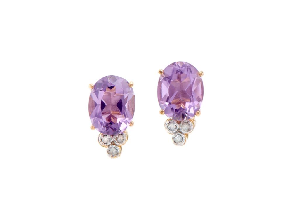 Plated 18KT Yellow Gold 2.95ctw Amethyst and Diamond Earrings