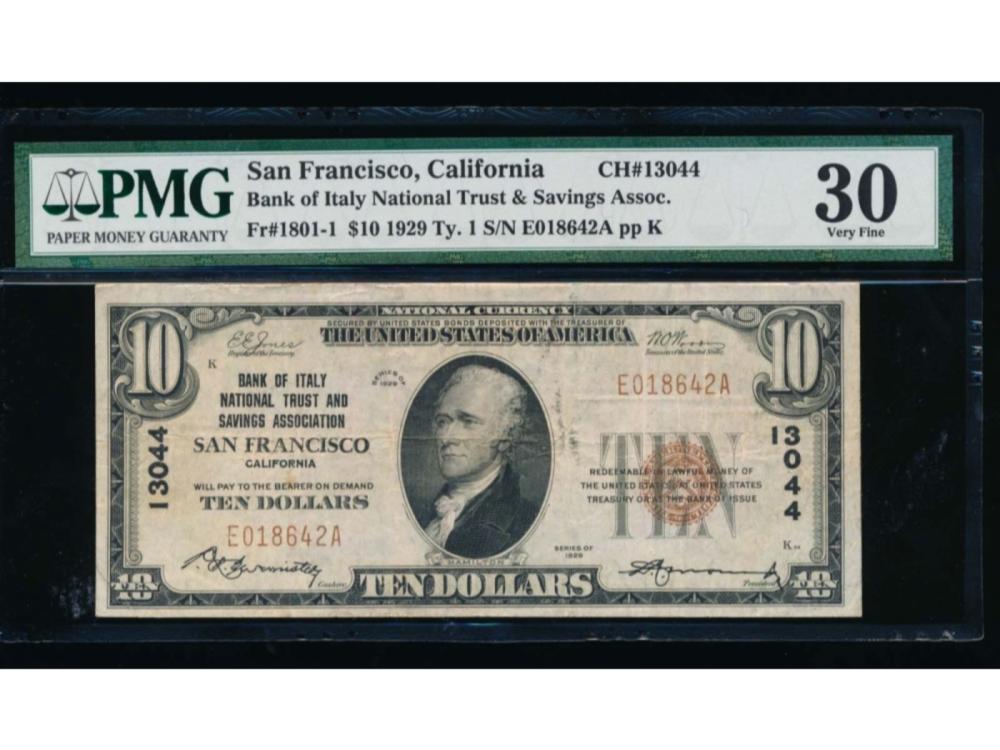 1929 $10 San Francisco National Bank Note PMG 30