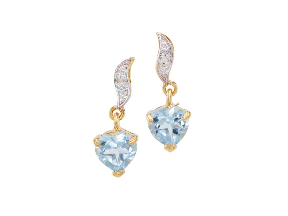 Plated 18KT Yellow Gold 1.65ctw Blue Topaz and Diamond Earrings