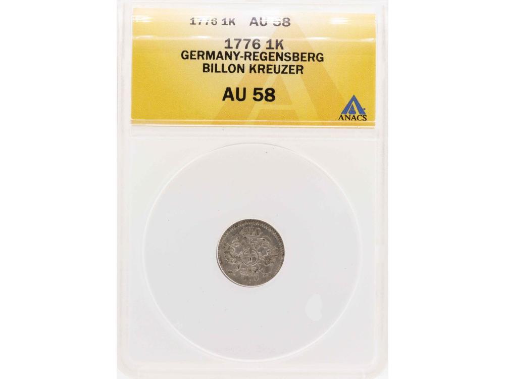 1776 Germany-Regensberg Billion Kreuzer Coin ANACS AU58