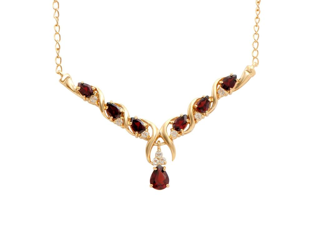 Plated 18KT Yellow Gold 3.50ctw Garnet and White Topaz Pendant with Chain