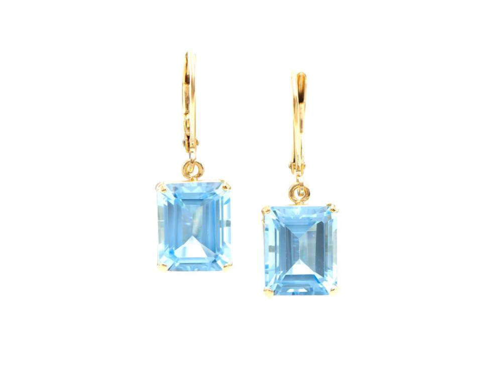 Plated 18KT Yellow Gold 10.05ctw Blue Topaz Earrings