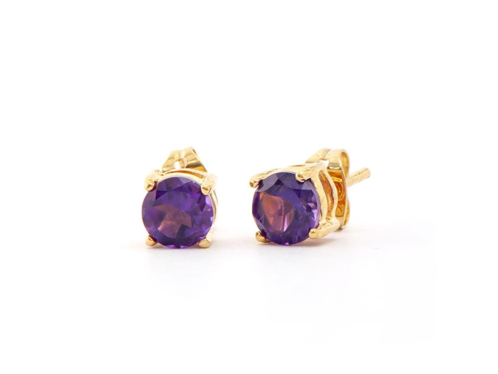 Plated 18KT Yellow Gold 1.40ctw Amethyst Earrings