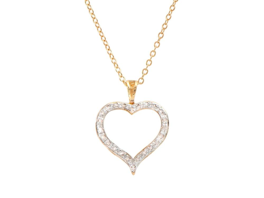 Plated 18KT Yellow Gold Diamond Heart Pendant with Chain