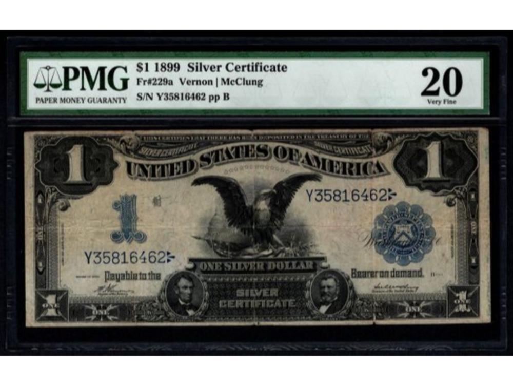 1899 $1 Black Eagle Silver Certificate Series Key Note PMG 20