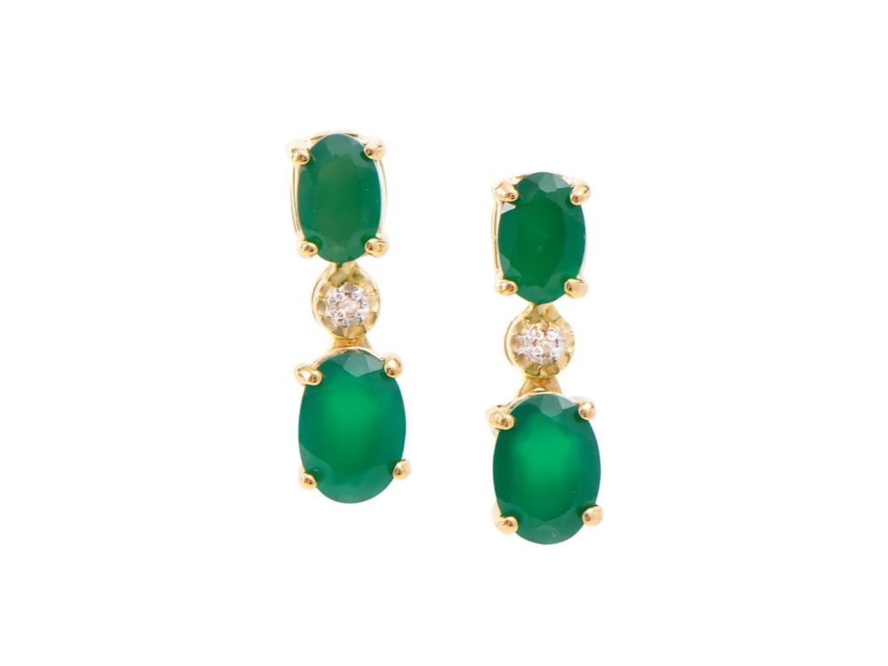 Plated 18KT Yellow Gold 2.00ctw Green Agate and Diamond Earrings