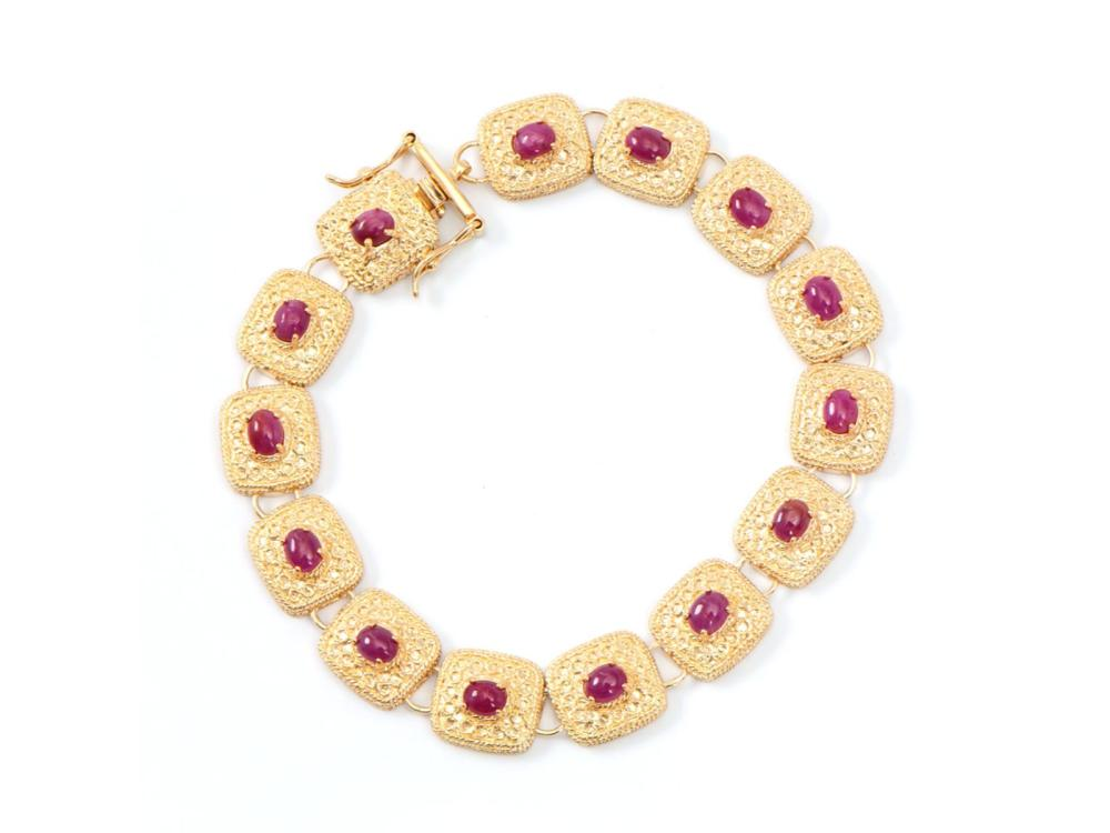 Plated 18KT Yellow Gold 8.00ctw Ruby Bracelet
