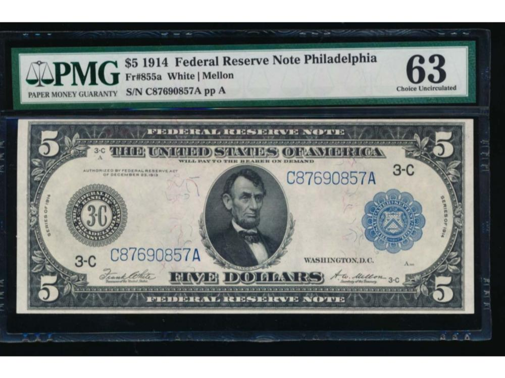 1914 $5 Philadelphia Federal Reserve Note PMG 63