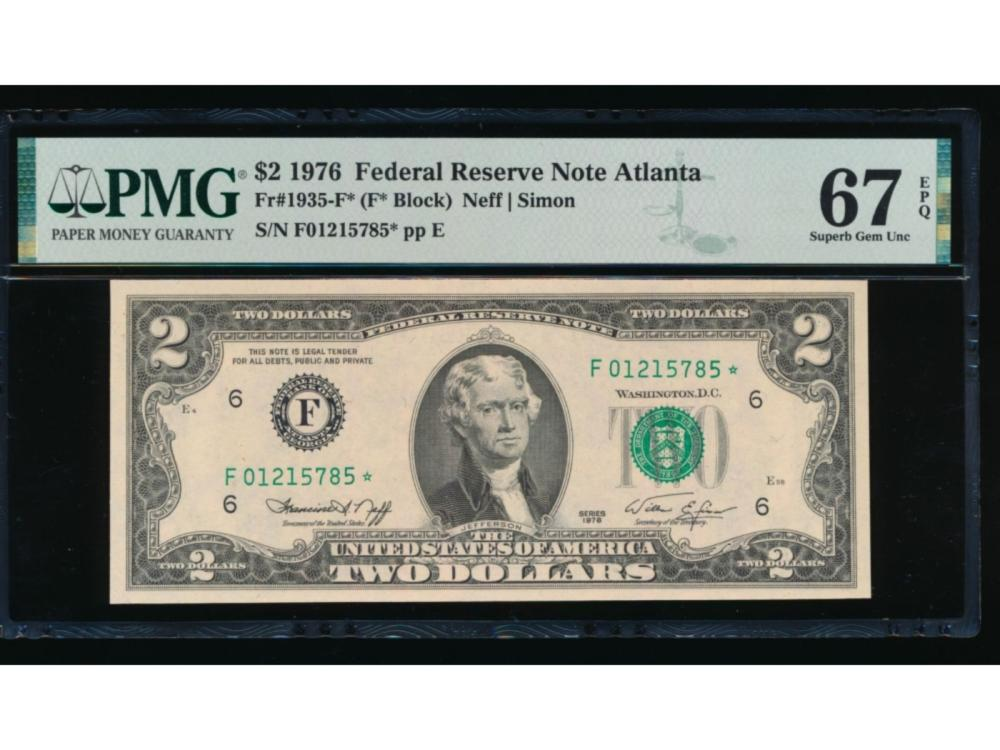 1976 $2 Atlanta Federal Reserve STAR Note PMG 67EPQ