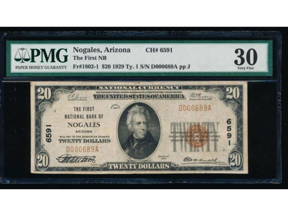 1929 $20 Nogales National Bank Note PMG 30