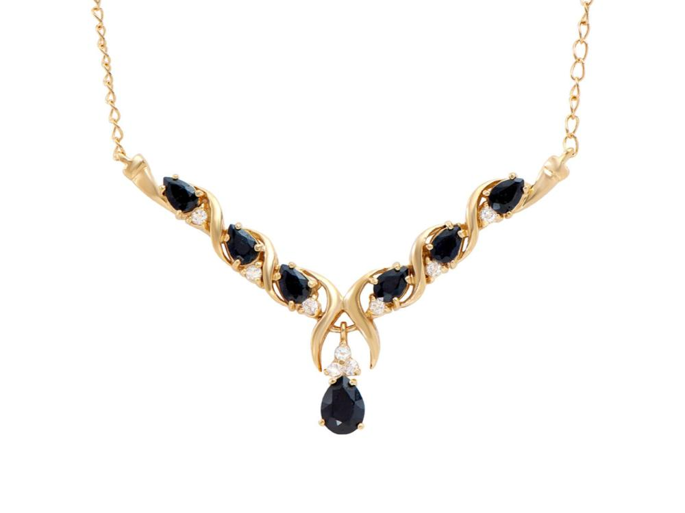 Plated 18KT Yellow Gold 4.50ctw Black Sapphire and White Topaz Pendant with Chain