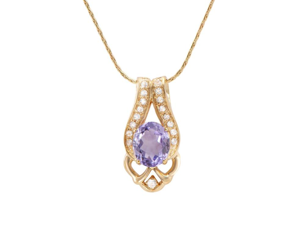 Plated 18KT Yellow Gold 4.00ct Amethyst and White Topaz Pendant with Chain