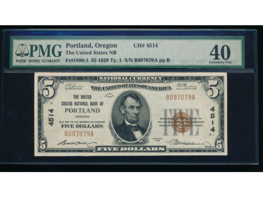 1929 $5 Portland National Bank Note PMG 40
