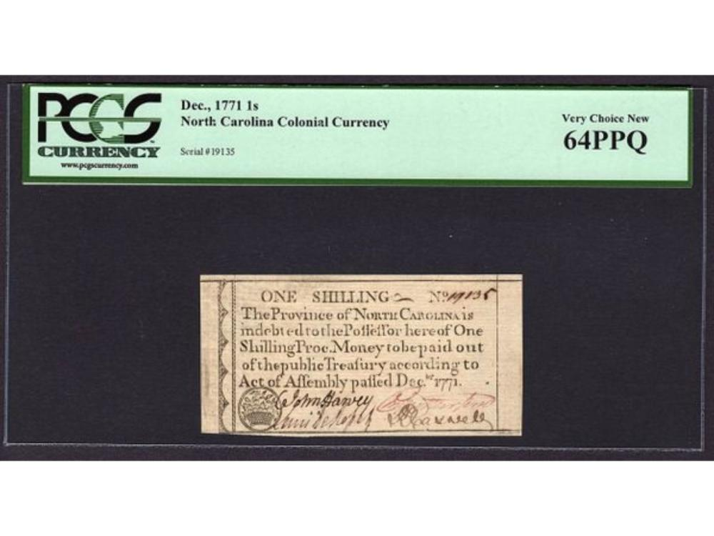 1771 One Shilling NC Colonial Note PCGS 64PPQ