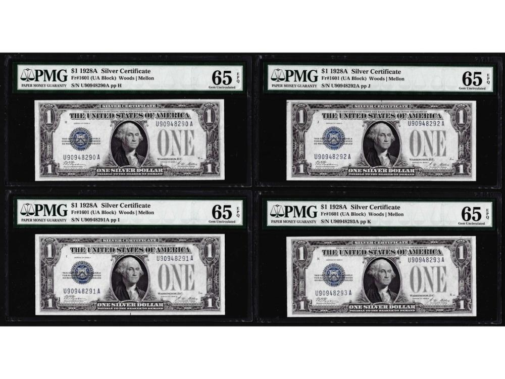 (4) Consecutive 1928A $1 Silver Certificate Notes Fr.1601 PMG Gem Uncirculated 65EPQ
