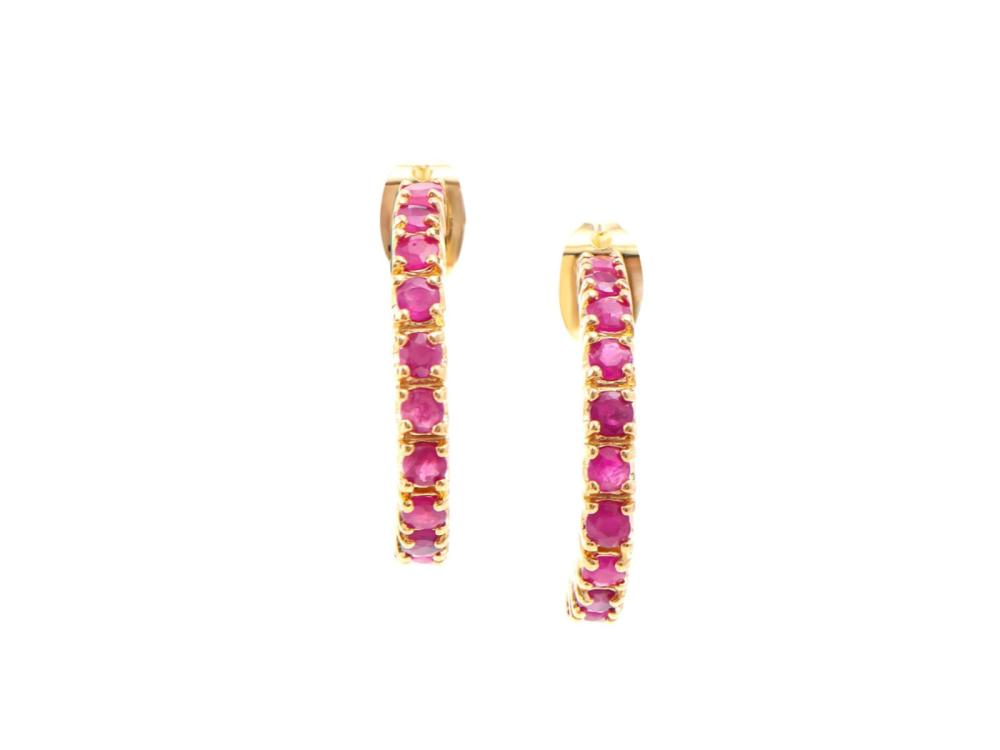 Plated 18KT Yellow Gold 1.85ctw Ruby Earrings