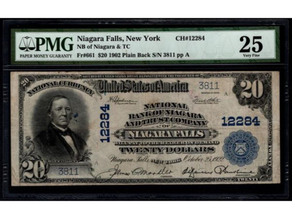 1902 $20 Niagara Falls National Bank Note PMG 25