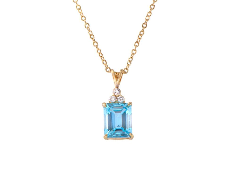 Plated 18KT Yellow Gold 5.10ctw Blue Topaz and Diamond Pendant with Chain