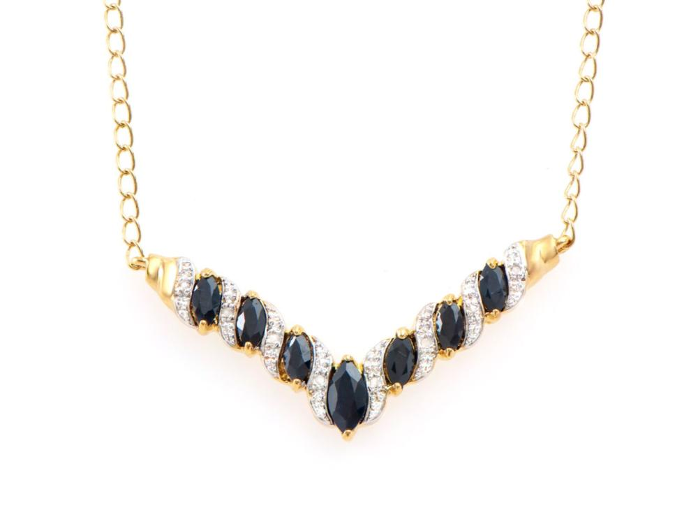 Plated 18KT Yellow Gold 2.67ctw Black Sapphire and Diamond Pendant with Chain