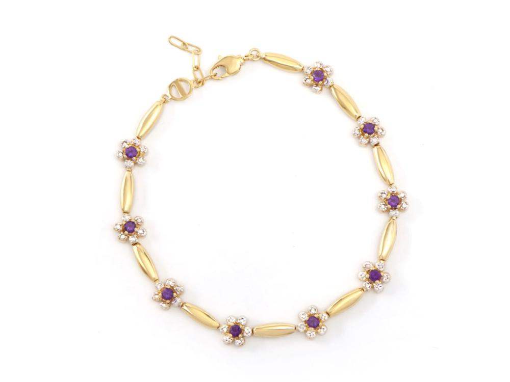 Plated 18KT Yellow Gold 0.82ctw Amethyst and Diamond Bracelet