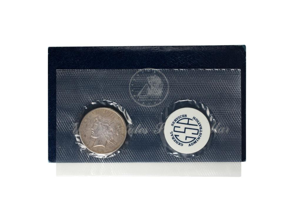 1923 $1 Peace Silver Dollar Coin GSA Soft Pack and Envelope