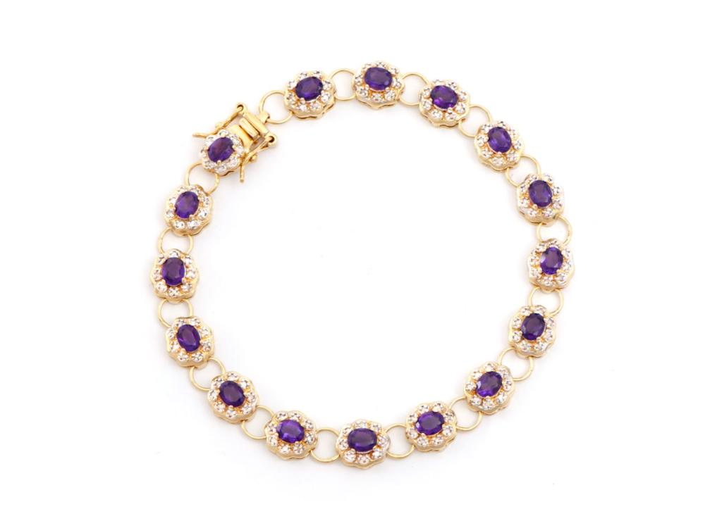 Plated 18KT Yellow Gold 5.45ctw Amethyst and Diamond Bracelet