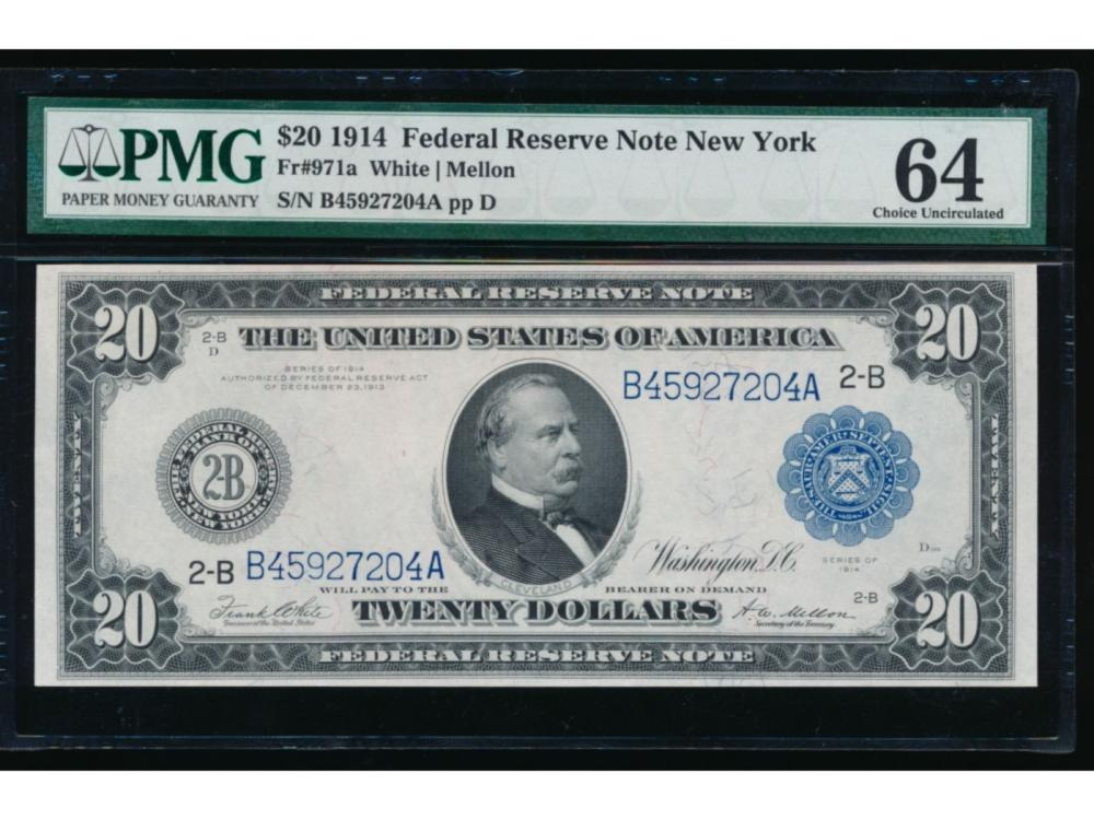1914 $20 New York Federal Reserve Note PMG 64