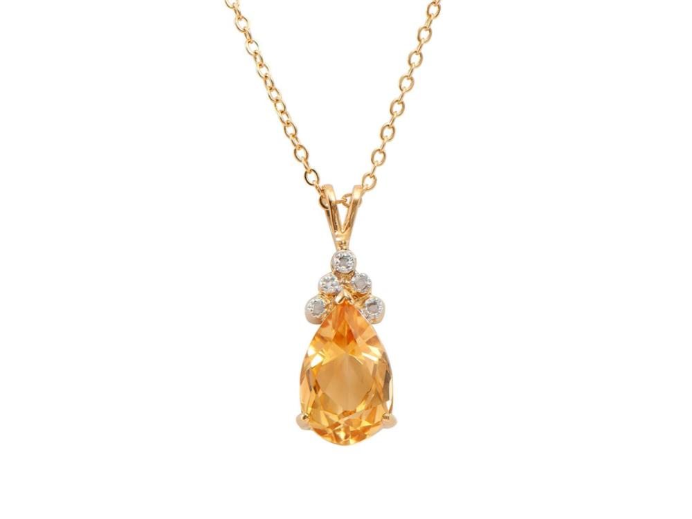 Plated 18KT Yellow Gold 3.75ct Citrine and Diamond Pendant with Chain