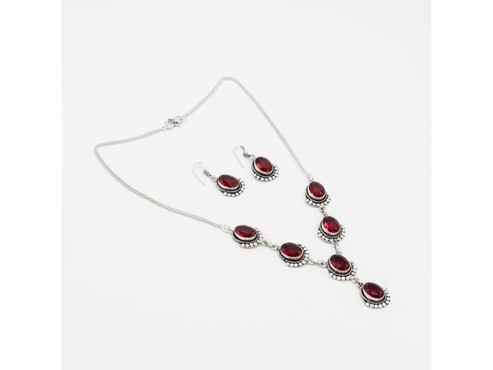 Lab Created Ruby Necklace And Earring Set