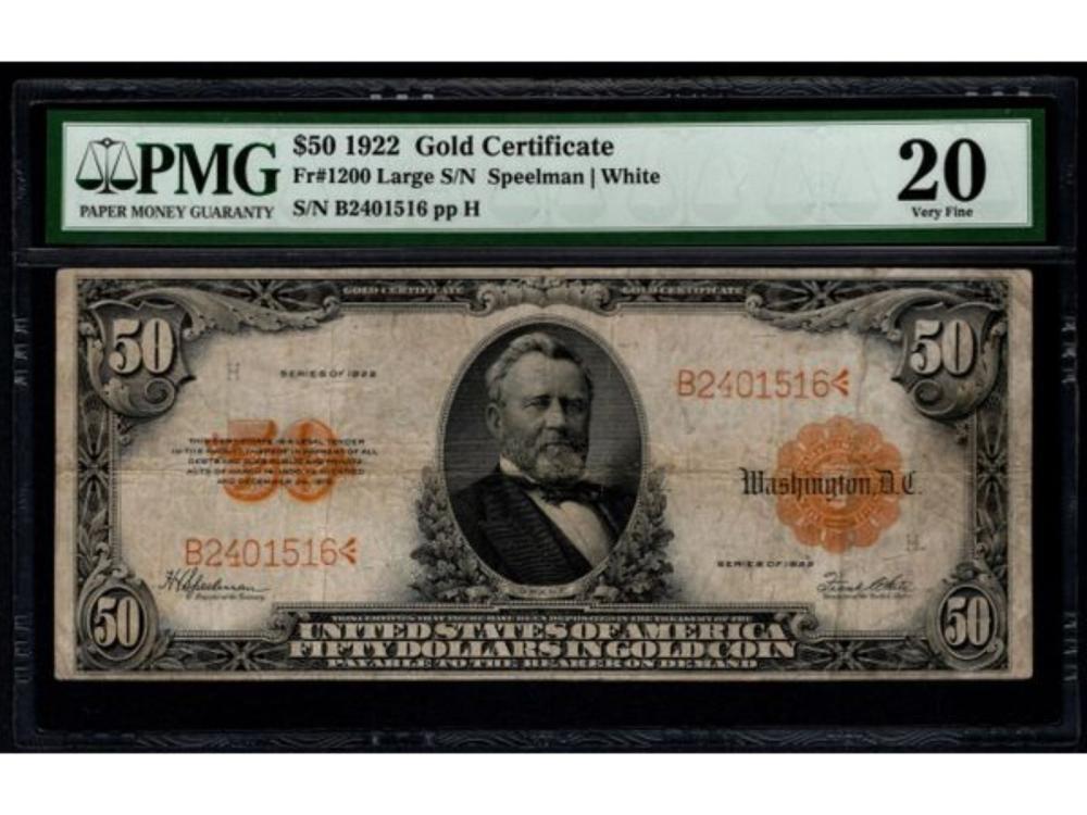 1922 $50 Gold Certificate PMG 20