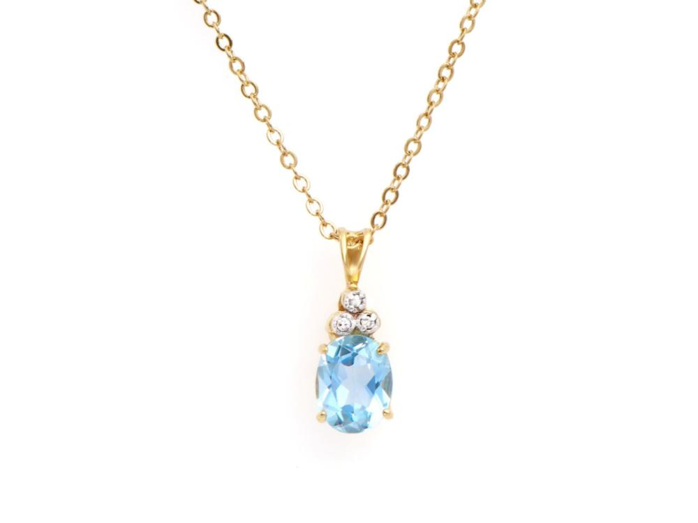 Plated 18KT Yellow Gold 4.35ctw Blue Topaz and Diamond Pendant with Chain