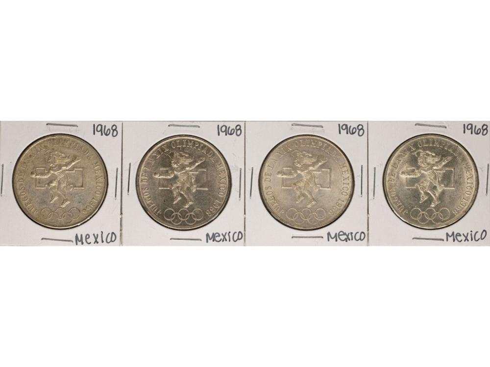 Lot of (4) 1968 Mexico 25 Pesos Olympics Commemorative Coins