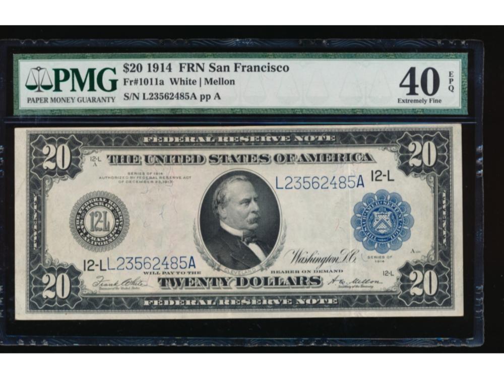 1914 $20 San Francisco Federal Reserve Note PMG 40EPQ