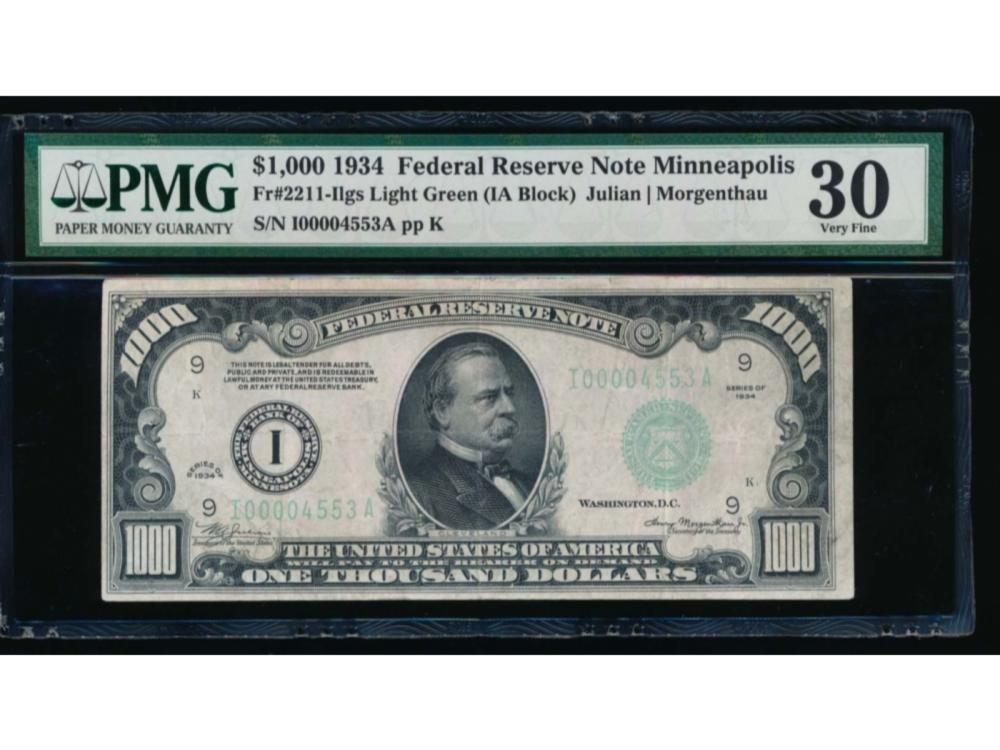 1934 $1000 Minneapolis Federal Reserve Note PMG 30
