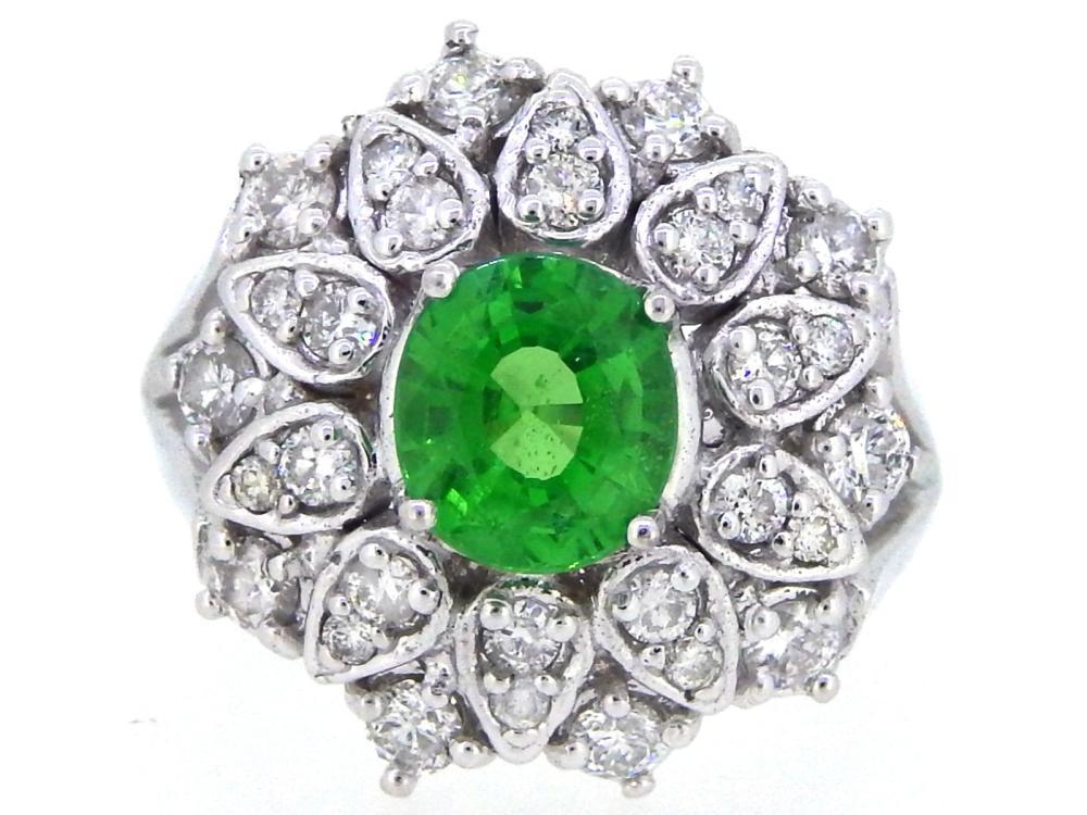 14KT White Gold 1.61ct GIA Cert Tsavorite and Diamond Ring