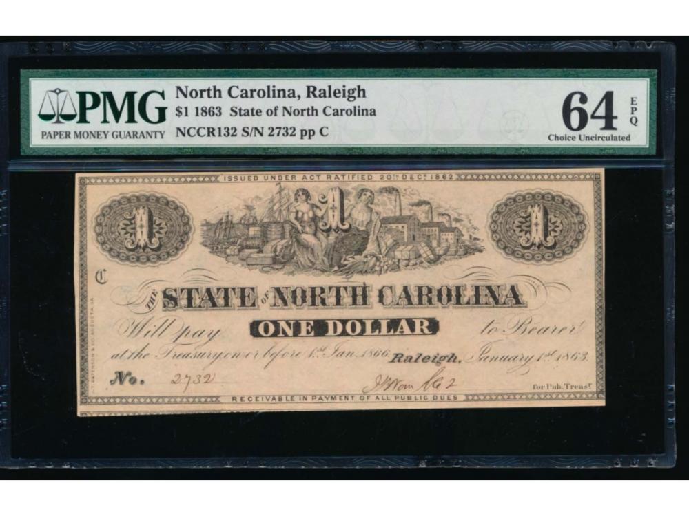 1863 $1 State of North Carolina Note PMG 64EPQ