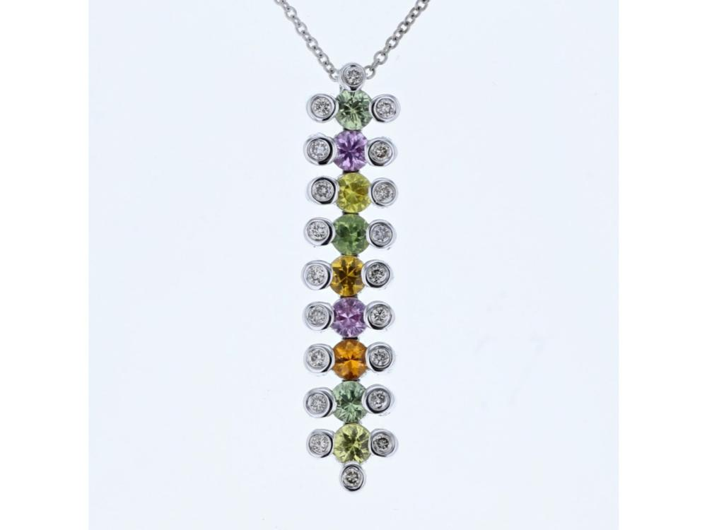 14KT White Gold 1.48ctw Multi Color Sapphire and Diamond Pendant with Chain
