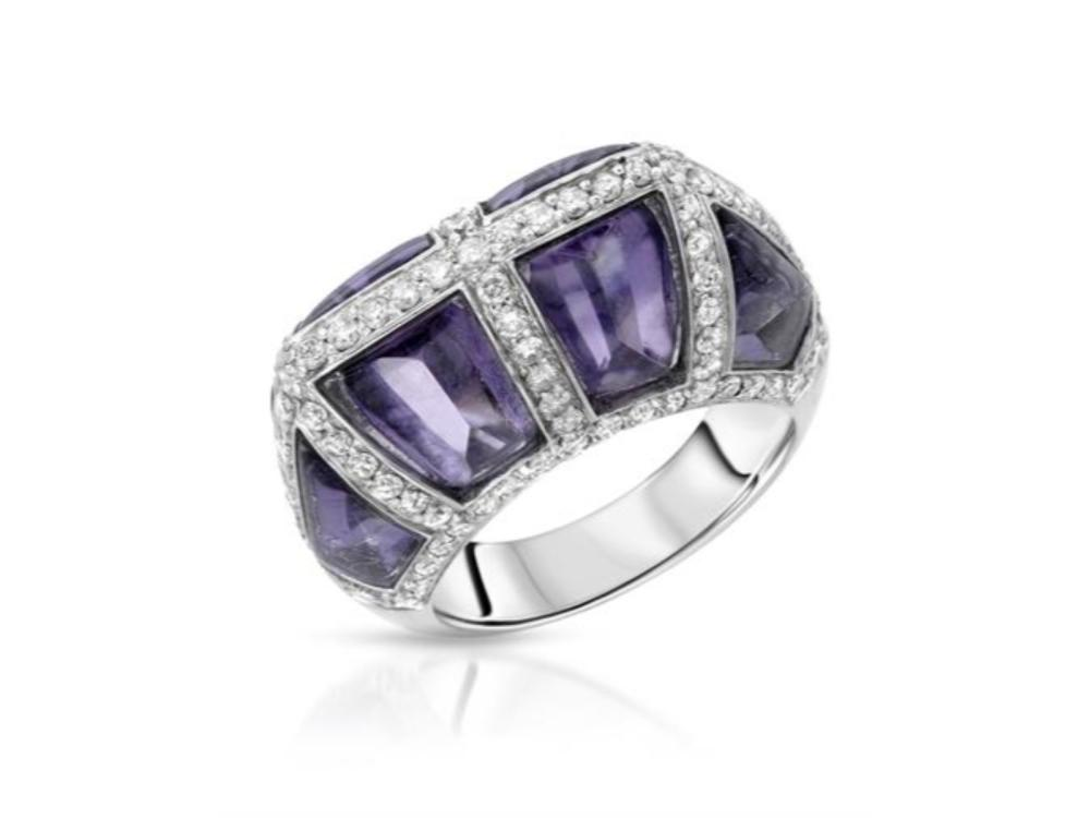 18KT White Gold 9.20ctw Amethyst and Diamond Ring