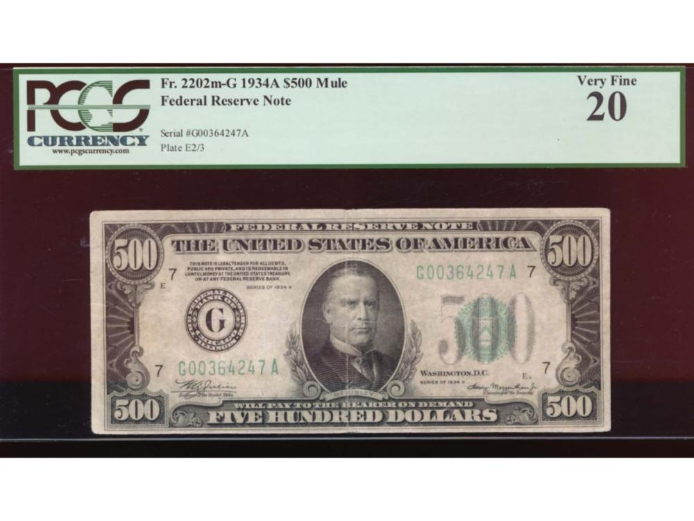 1934 $500 Chicago Federal Reserve Note PCGS 20