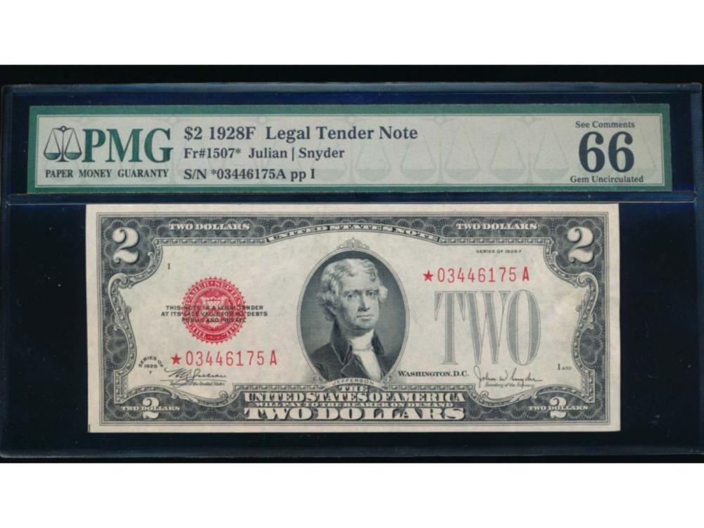 1928F $2 Legal Tender Star Note PMG 66