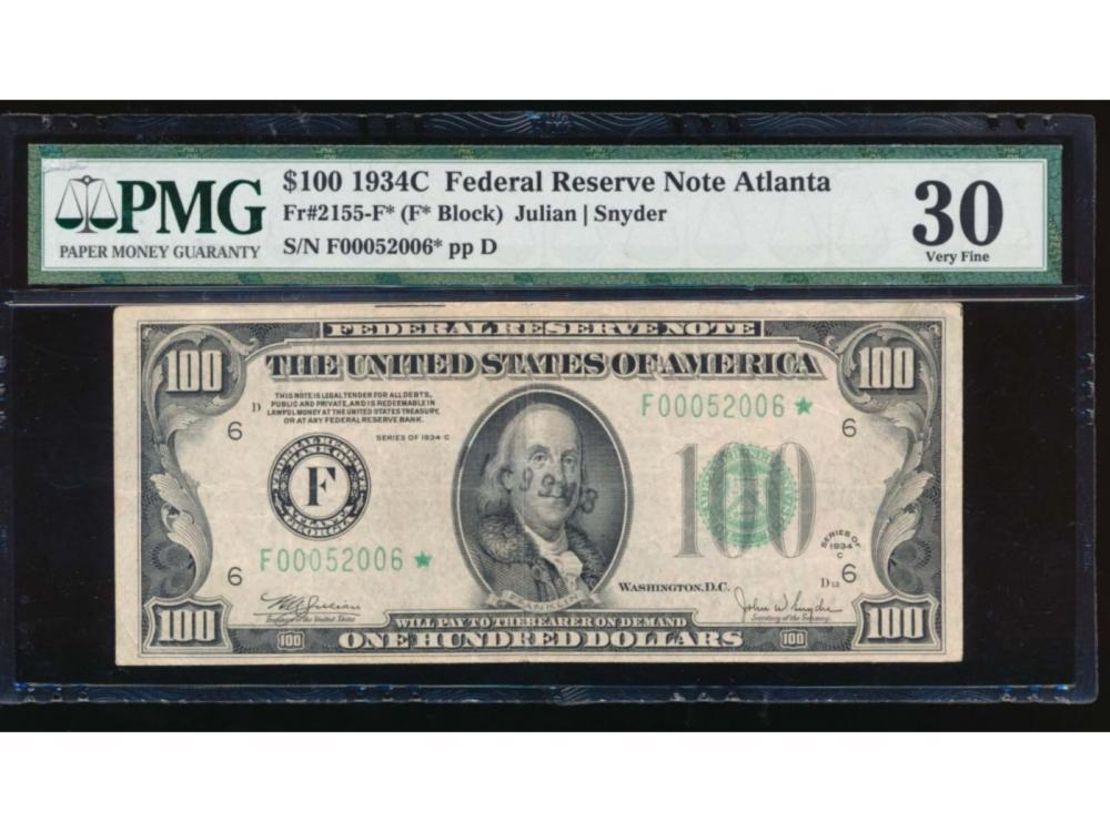 1934C $100 Atlanta Federal Reserve Star Note PMG 30