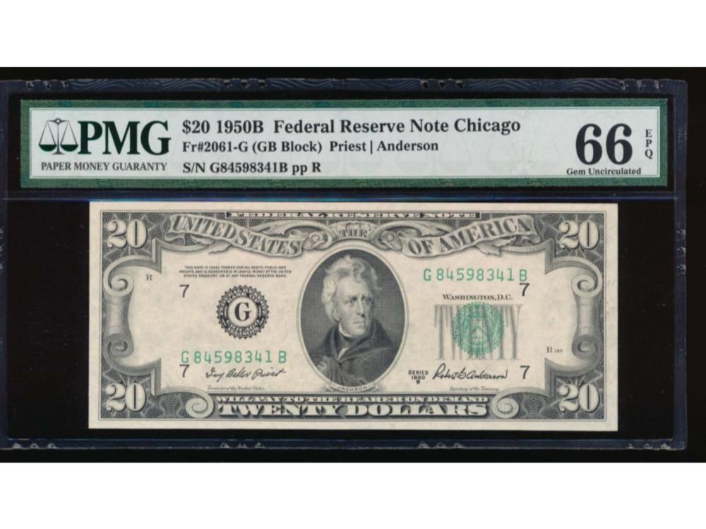 1950B $20 Chicago Federal Reserve Note PMG 66EPQ