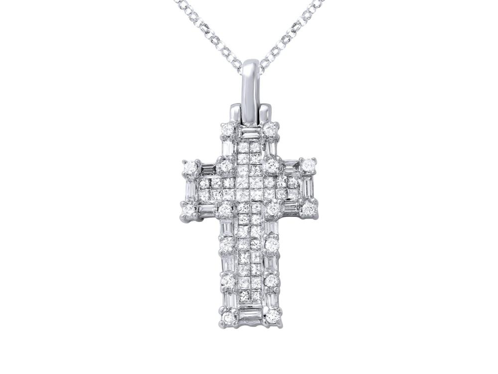 14KT White Gold 1.21ctw Diamond Pendant with Chain