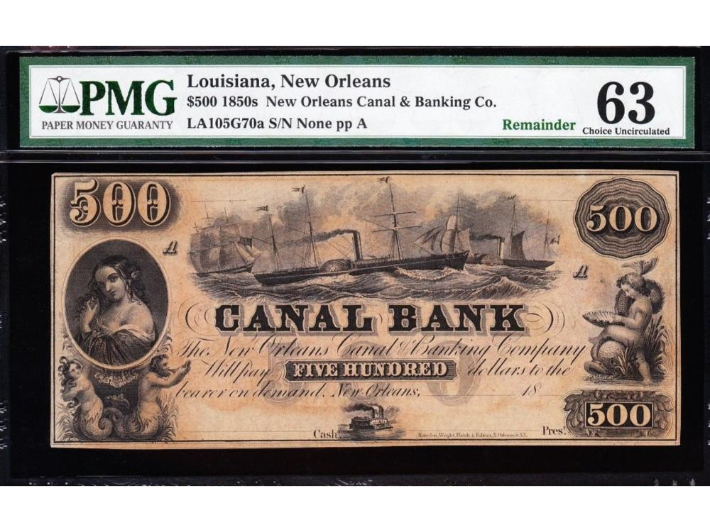 1850's $500 Canal Bank Note PMG 63