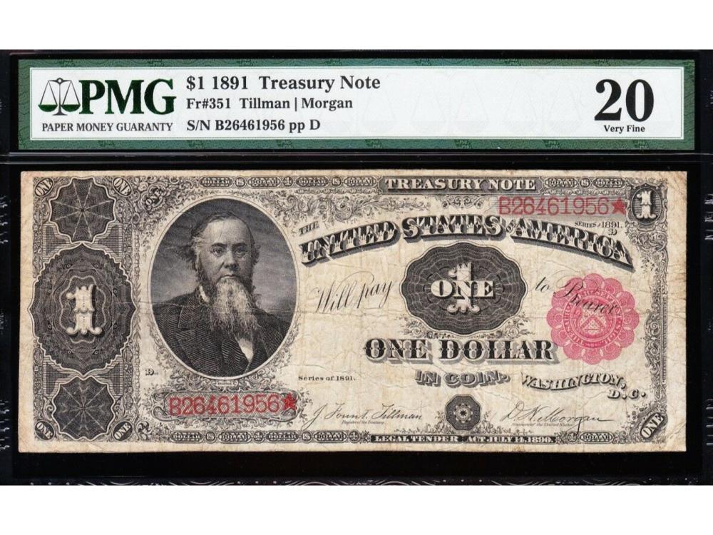 1891 $1 Treasury Note PMG 20