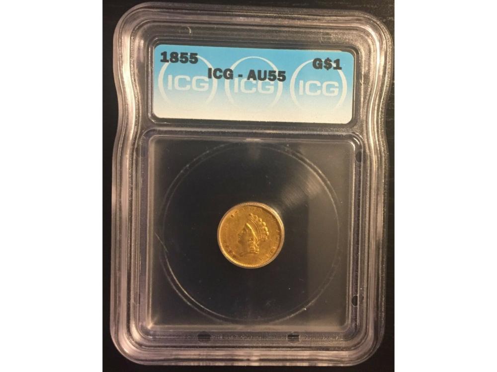 1855 $1 Type 2 Gold Coin ICG AU55