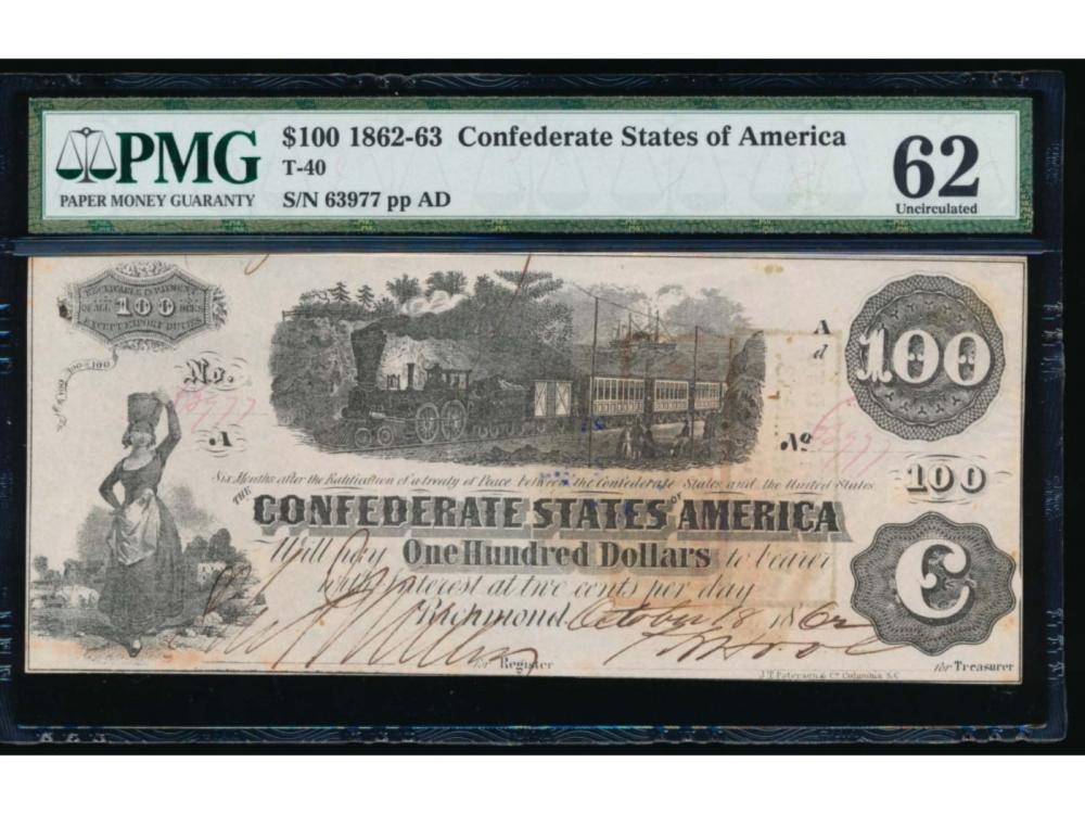1862-63 $100 Confederate States of America Note PMG 62